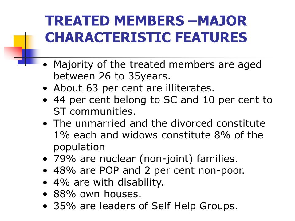 TREATED MEMBERS –MAJOR CHARACTERISTIC FEATURES Majority of the treated members are aged between 26 to 35years.