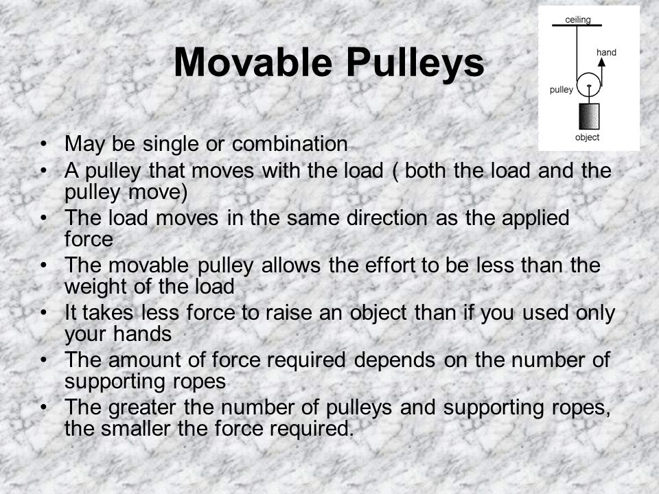 Movable Pulleys May be single or combination A pulley that moves with the load ( both the load and the pulley move) The load moves in the same direction as the applied force The movable pulley allows the effort to be less than the weight of the load It takes less force to raise an object than if you used only your hands The amount of force required depends on the number of supporting ropes The greater the number of pulleys and supporting ropes, the smaller the force required.