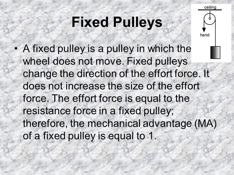 Fixed Pulleys A fixed pulley is a pulley in which the wheel does not move.