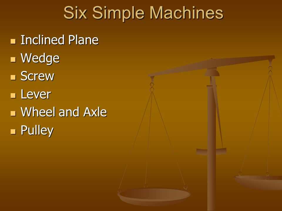 Six Simple Machines Inclined Plane Inclined Plane Wedge Wedge Screw Screw Lever Lever Wheel and Axle Wheel and Axle Pulley Pulley