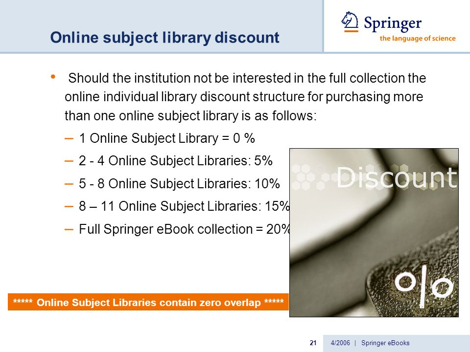 4/2006 | Springer eBooks21 Online subject library discount Should the institution not be interested in the full collection the online individual library discount structure for purchasing more than one online subject library is as follows: – 1 Online Subject Library = 0 % – 2 - 4 Online Subject Libraries: 5% – 5 - 8 Online Subject Libraries: 10% – 8 – 11 Online Subject Libraries: 15% – Full Springer eBook collection = 20% ***** Online Subject Libraries contain zero overlap *****