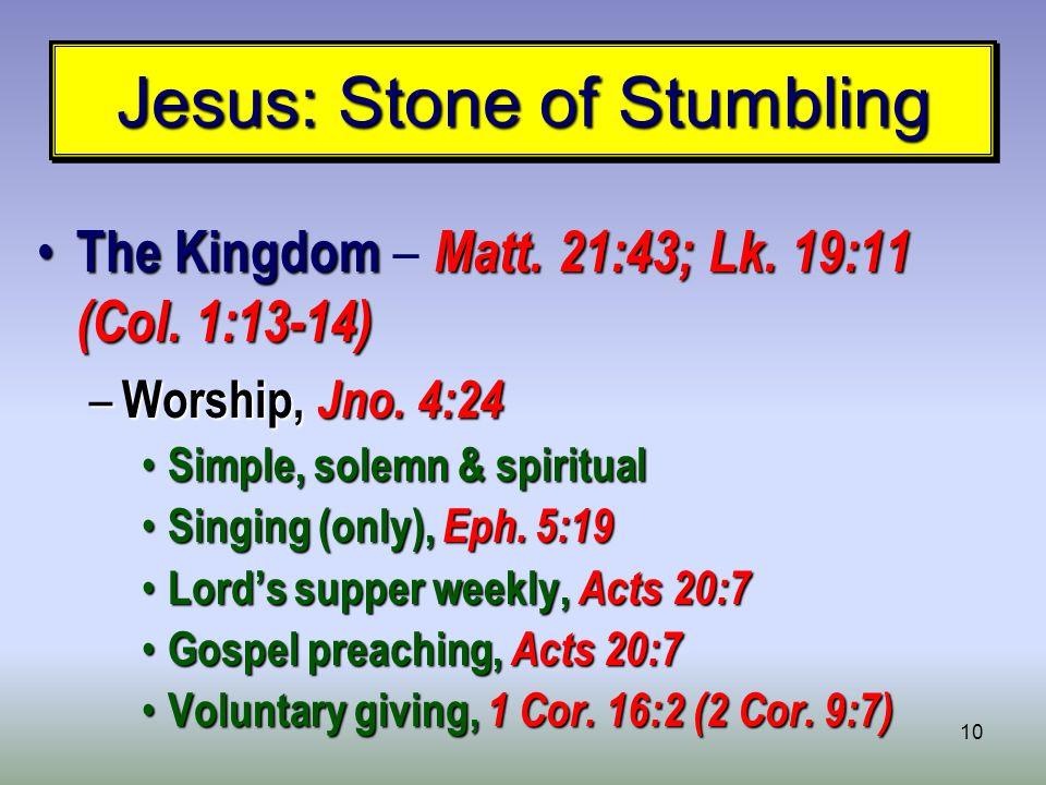 10 Jesus: Stone of Stumbling The Kingdom Matt. 21:43; Lk.