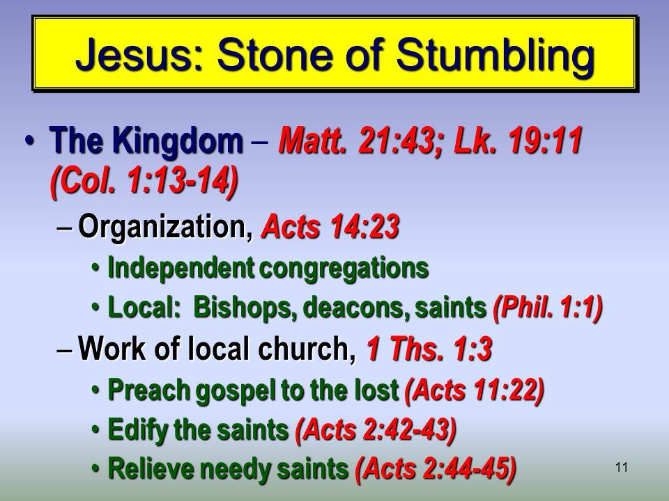 11 Jesus: Stone of Stumbling The Kingdom Matt. 21:43; Lk.