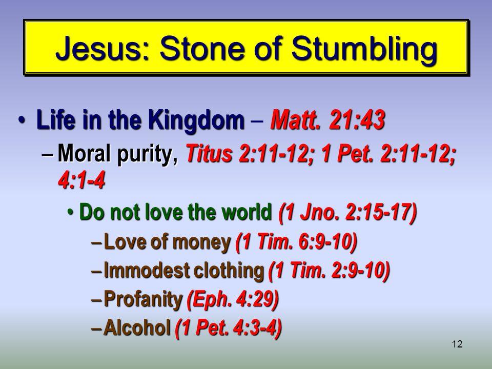 12 Jesus: Stone of Stumbling Life in the Kingdom Matt.