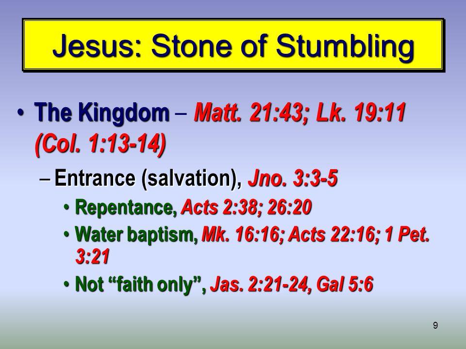 9 Jesus: Stone of Stumbling The Kingdom Matt. 21:43; Lk.