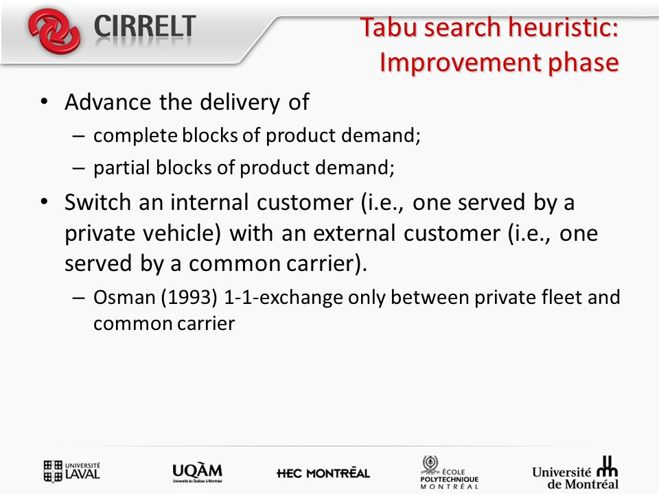 Tabu search heuristic: Improvement phase Advance the delivery of – complete blocks of product demand; – partial blocks of product demand; Switch an internal customer (i.e., one served by a private vehicle) with an external customer (i.e., one served by a common carrier).
