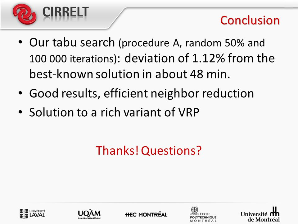 Conclusion Our tabu search (procedure A, random 50% and 100 000 iterations) : deviation of 1.12% from the best-known solution in about 48 min. Good re