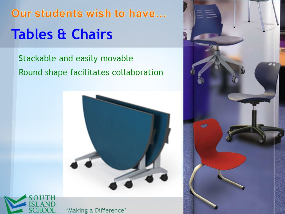 Stackable and easily movable Round shape facilitates collaboration 'Making a Difference' Tables & Chairs