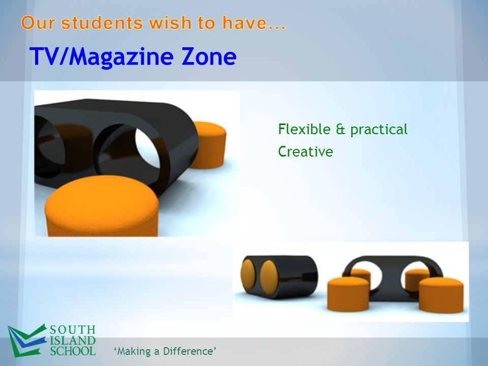 'Making a Difference' TV/Magazine Zone Flexible & practical Creative