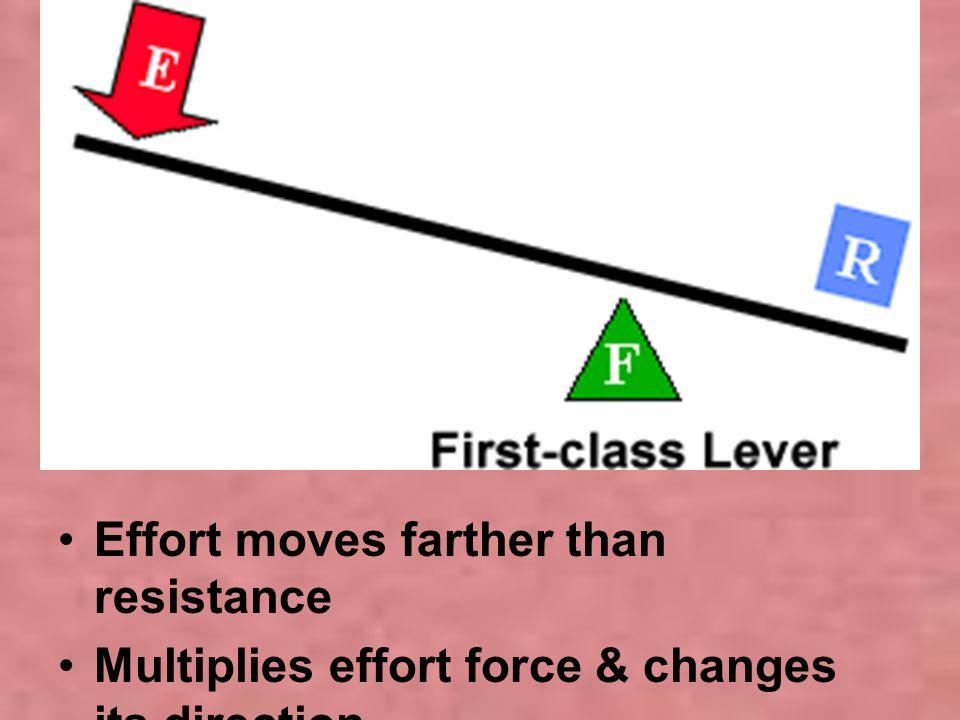 Effort moves farther than resistance Multiplies effort force & changes its direction
