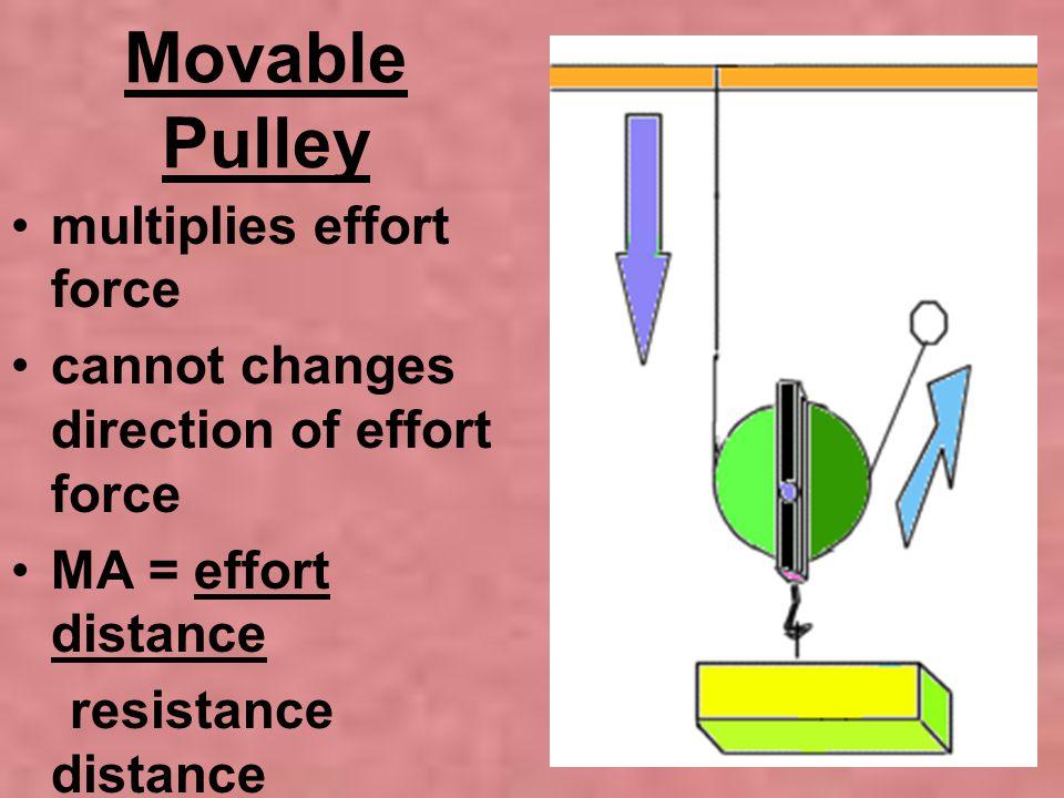 Movable Pulley multiplies effort force cannot changes direction of effort force MA = effort distance resistance distance