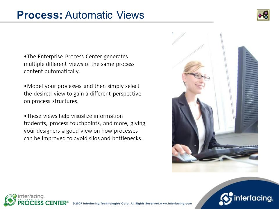 Process: Automatic Views The Enterprise Process Center generates multiple different views of the same process content automatically. Model your proces