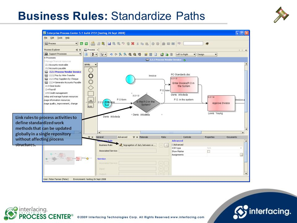 Business Rules: Standardize Paths Link rules to process activities to define standardized work methods that can be updated globally in a single reposi