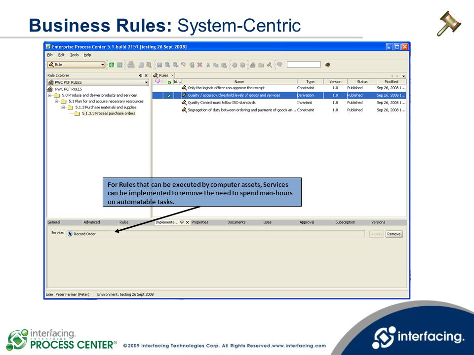 Business Rules: System-Centric For Rules that can be executed by computer assets, Services can be implemented to remove the need to spend man-hours on