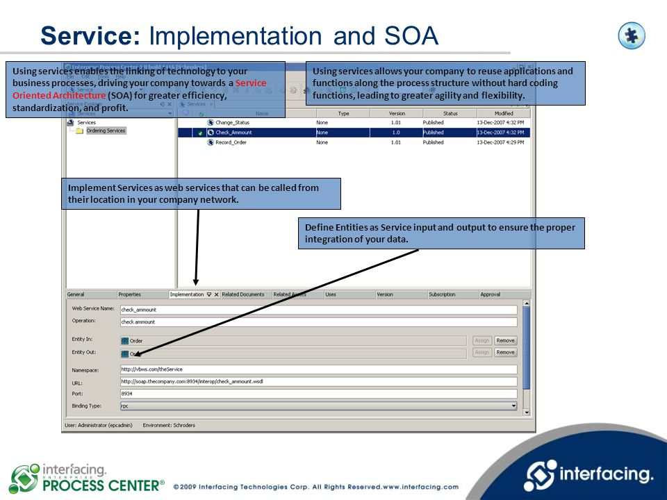 Service: Implementation and SOA Implement Services as web services that can be called from their location in your company network. Define Entities as