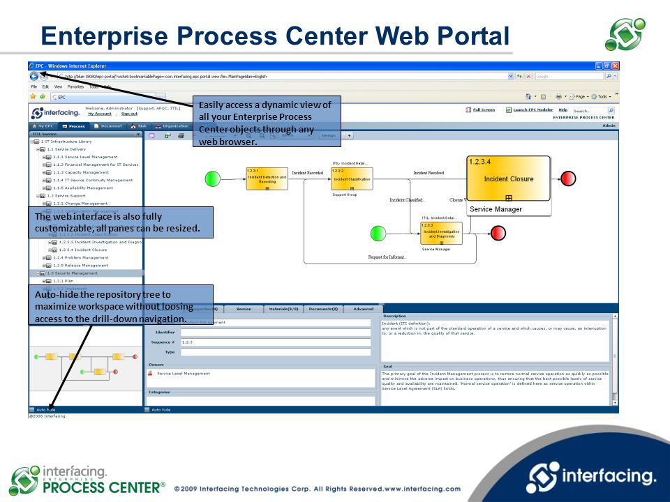 Enterprise Process Center Web Portal Easily access a dynamic view of all your Enterprise Process Center objects through any web browser. The web inter