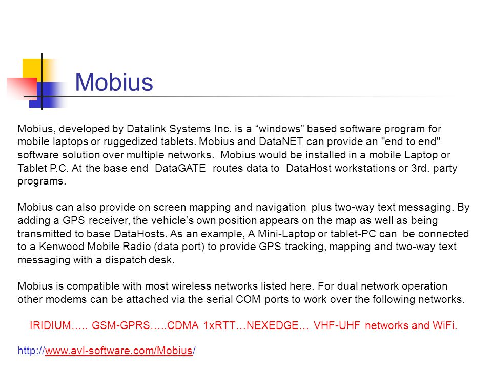 Mobius Mobius, developed by Datalink Systems Inc.