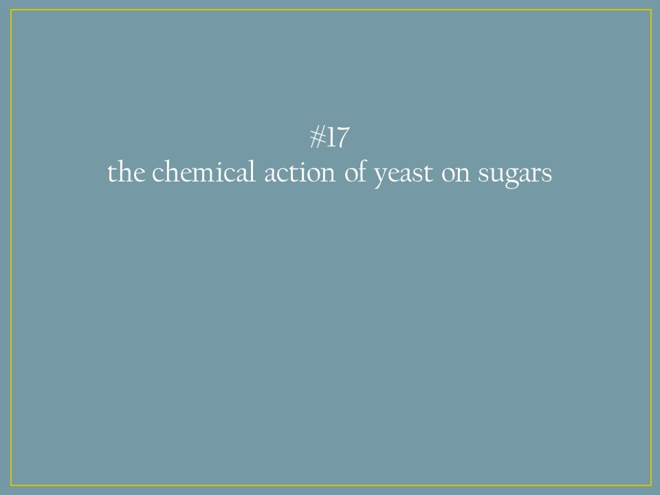 #17 the chemical action of yeast on sugars