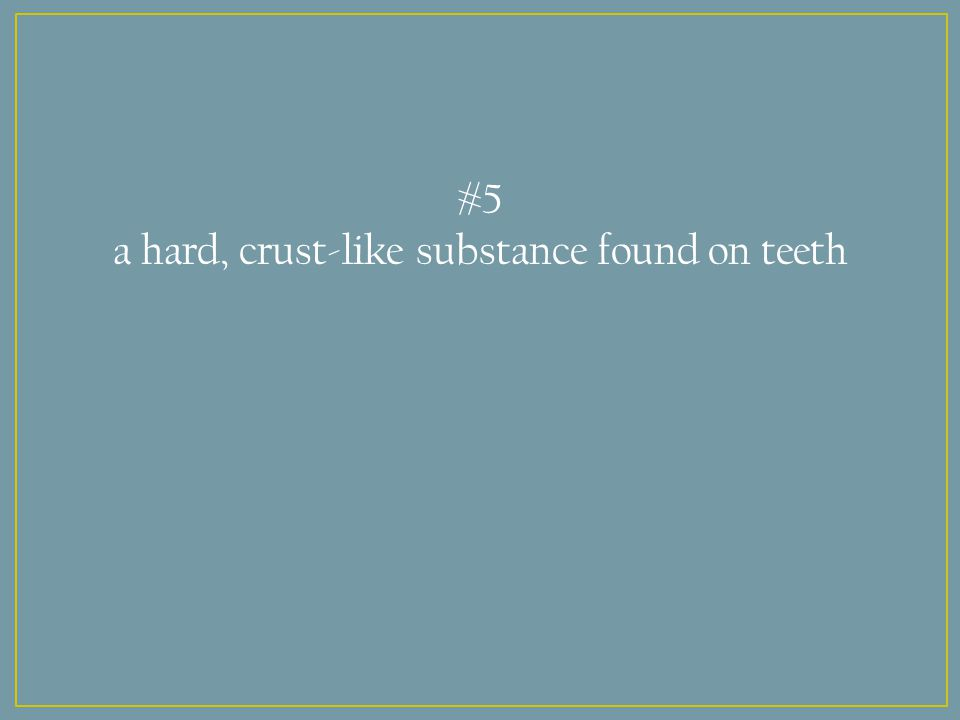 #5 a hard, crust-like substance found on teeth