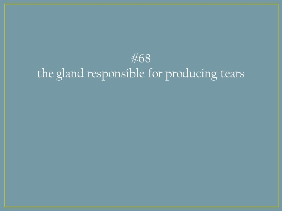 #68 the gland responsible for producing tears