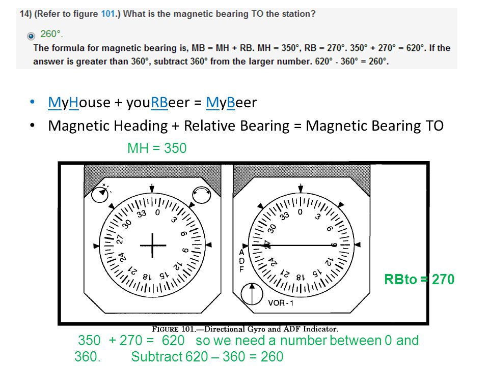 MyHouse + youRBeer = MyBeer Magnetic Heading + Relative Bearing = Magnetic Bearing TO MH = 350 RBto = 270 350 + 270 = 620 so we need a number between