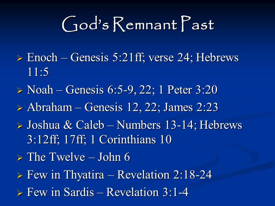 God's Remnant Present Luke 8:4-15 Wayside Soil – Heard, yet never obeyed.