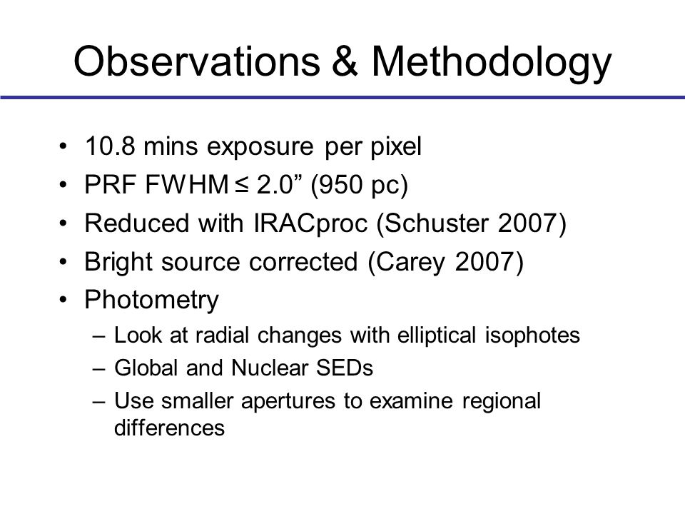 Observations & Methodology 10.8 mins exposure per pixel PRF FWHM ≤ 2.0 (950 pc) Reduced with IRACproc (Schuster 2007) Bright source corrected (Carey 2007) Photometry –Look at radial changes with elliptical isophotes –Global and Nuclear SEDs –Use smaller apertures to examine regional differences