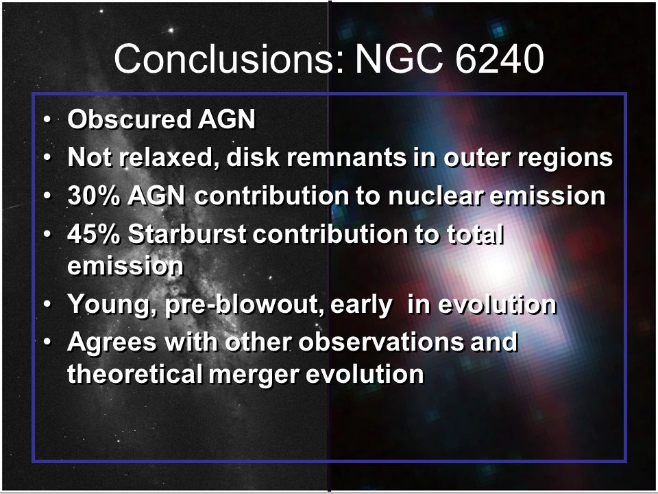 Conclusions: NGC 6240 Obscured AGN Not relaxed, disk remnants in outer regions 30% AGN contribution to nuclear emission 45% Starburst contribution to total emission Young, pre-blowout, early in evolution Agrees with other observations and theoretical merger evolution Obscured AGN Not relaxed, disk remnants in outer regions 30% AGN contribution to nuclear emission 45% Starburst contribution to total emission Young, pre-blowout, early in evolution Agrees with other observations and theoretical merger evolution