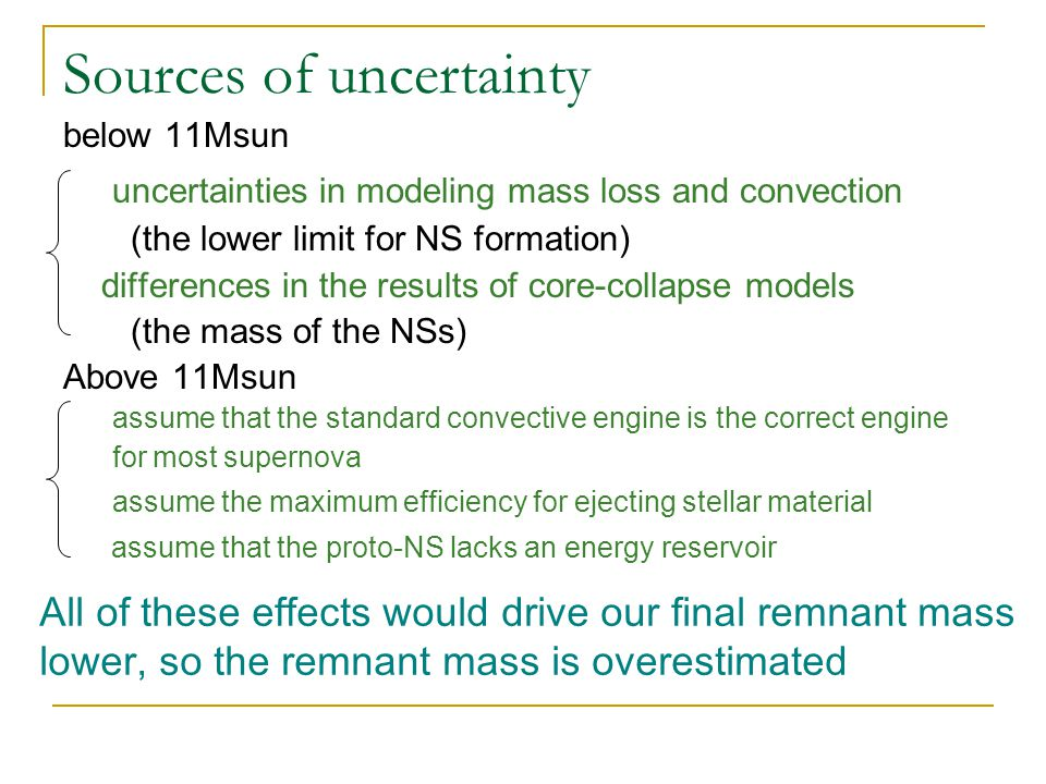 Sources of uncertainty below 11Msun uncertainties in modeling mass loss and convection (the lower limit for NS formation) differences in the results of core-collapse models (the mass of the NSs) Above 11Msun assume that the standard convective engine is the correct engine for most supernova assume the maximum efficiency for ejecting stellar material assume that the proto-NS lacks an energy reservoir All of these effects would drive our final remnant mass lower, so the remnant mass is overestimated