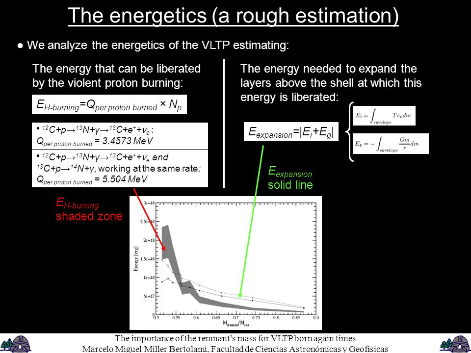● We analyze the energetics of the VLTP estimating: The energetics (a rough estimation) The energy needed to expand the layers above the shell at which this energy is liberated: E expansion =|E i +E g | The energy that can be liberated by the violent proton burning: E H-burning =Q per proton burned × N p ● 12 C+p→ 13 N+γ→ 13 C+e + + ν e : Q per proton burned = 3.4573 MeV ● 12 C+p→ 13 N+γ→ 13 C+e + + ν e and 13 C+p→ 14 N+γ, working at the same rate: Q per proton burned = 5.504 MeV E expansion solid line E H-burning shaded zone The importance of the remnant's mass for VLTP born again times Marcelo Miguel Miller Bertolami, Facultad de Ciencias Astronómicas y Geofísicas