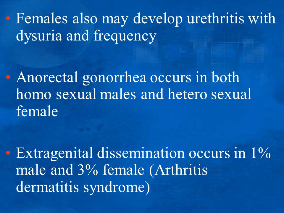 Females also may develop urethritis with dysuria and frequency Anorectal gonorrhea occurs in both homo sexual males and hetero sexual female Extrageni