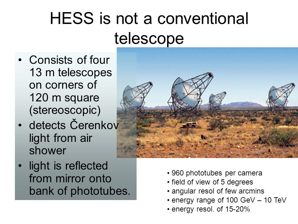 HESS is not a conventional telescope 960 phototubes per camera field of view of 5 degrees angular resol of few arcmins energy range of 100 GeV – 10 Te