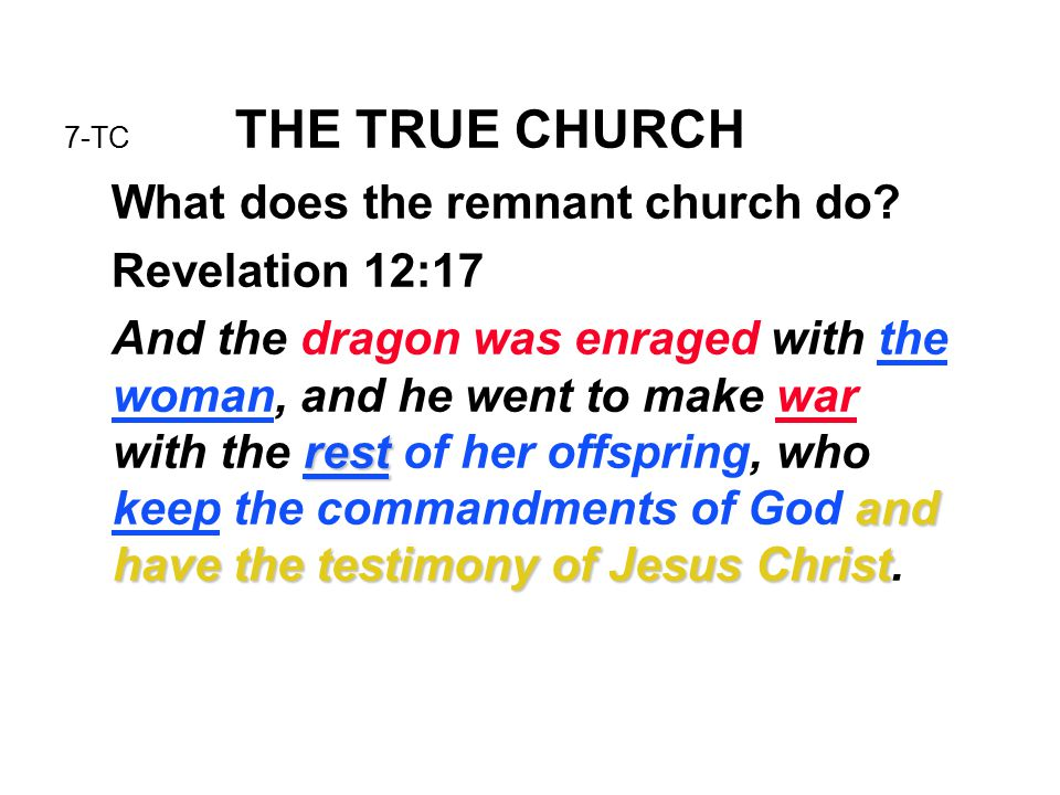 7-TC THE TRUE CHURCH What does the remnant church do? Revelation 12:17 rest and have the testimony of Jesus Christ And the dragon was enraged with the