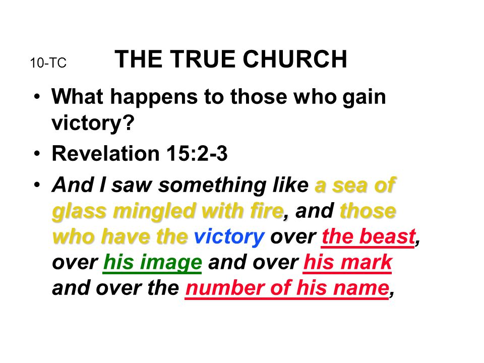 10-TC THE TRUE CHURCH What happens to those who gain victory.
