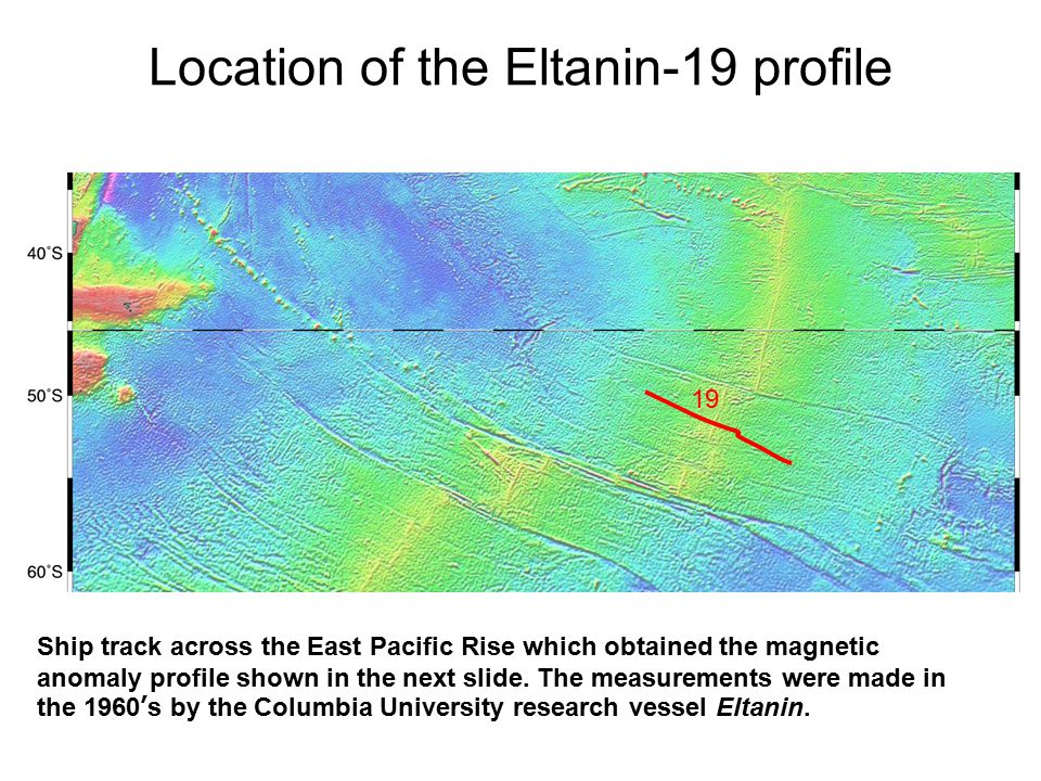 Ship track across the East Pacific Rise which obtained the magnetic anomaly profile shown in the next slide. The measurements were made in the 1960's