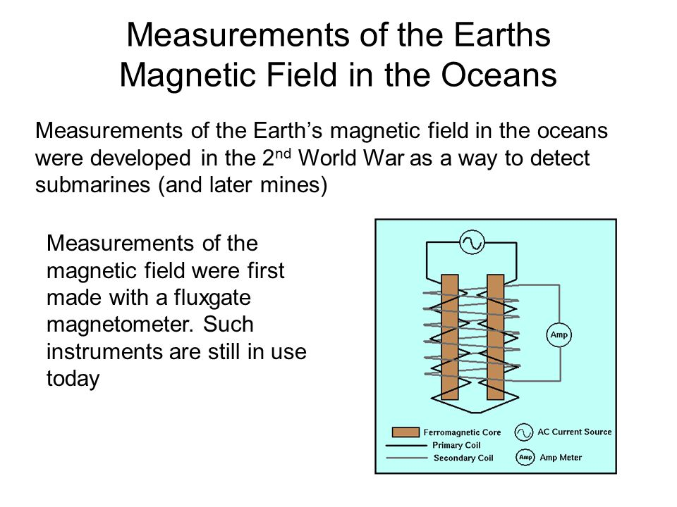 Measurements of the Earths Magnetic Field in the Oceans Measurements of the Earth's magnetic field in the oceans were developed in the 2 nd World War