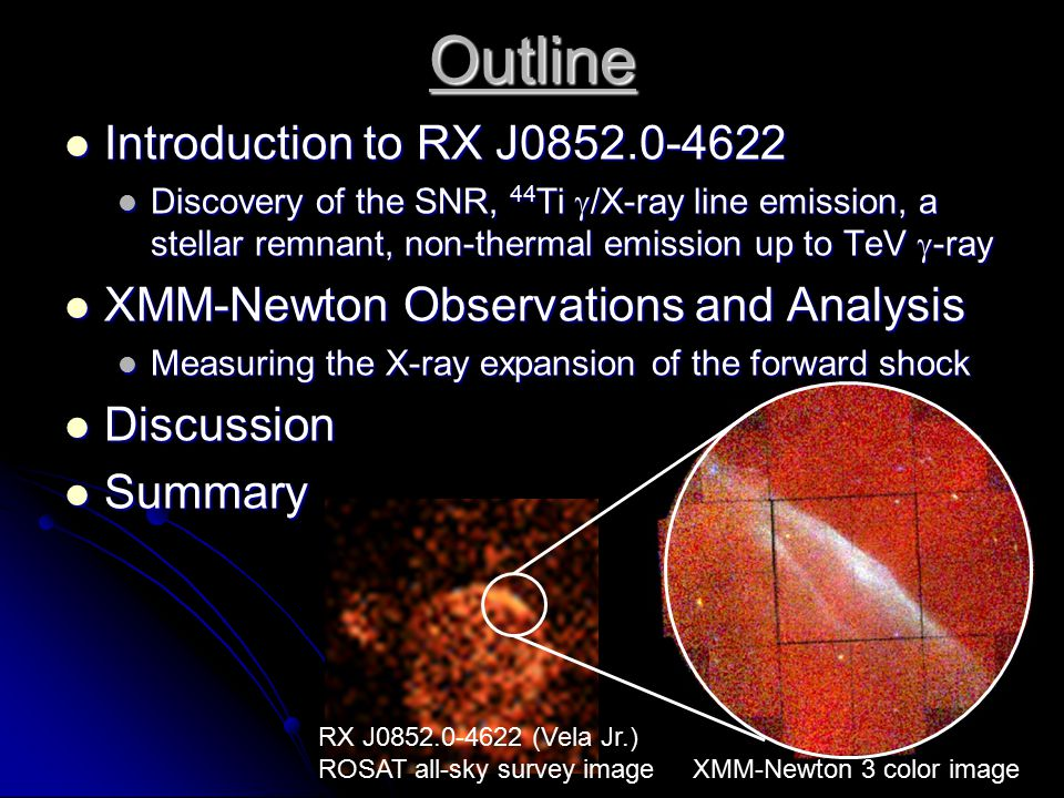 RX J0852.0-4622 (Vela Jr.) ROSAT all-sky survey image XMM-Newton 3 color image Outline Introduction to RX J0852.0-4622 Introduction to RX J0852.0-4622 Discovery of the SNR, 44 Ti  /X-ray line emission, a stellar remnant, non-thermal emission up to TeV  -ray Discovery of the SNR, 44 Ti  /X-ray line emission, a stellar remnant, non-thermal emission up to TeV  -ray XMM-Newton Observations and Analysis XMM-Newton Observations and Analysis Measuring the X-ray expansion of the forward shock Measuring the X-ray expansion of the forward shock Discussion Discussion Summary Summary