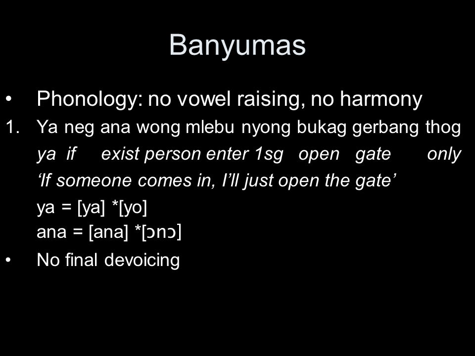 Banyumas Phonology: no vowel raising, no harmony 1.Ya neg ana wong mlebu nyong bukag gerbang thog ya if exist person enter 1sg open gate only 'If someone comes in, I'll just open the gate' ya = [ya] *[yo] ana = [ana] *[ ɔnɔ] No final devoicing