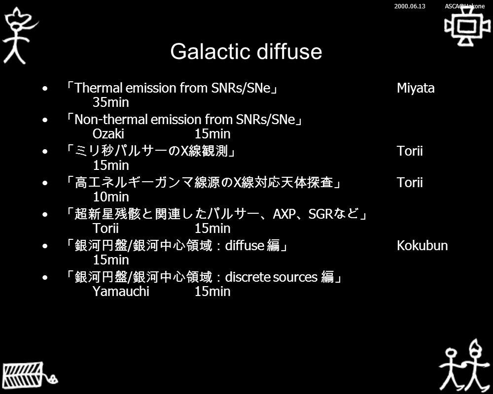 2000.06.13ASCA@Hakone Galactic diffuse 「 Thermal emission from SNRs/SNe 」 Miyata 35min 「 Non-thermal emission from SNRs/SNe 」 Ozaki15min 「ミリ秒パルサーの X 線観測」 Torii 15min 「高エネルギーガンマ線源の X 線対応天体探査」 Torii 10min 「超新星残骸と関連したパルサー、 AXP 、 SGR など」 Torii15min 「銀河円盤 / 銀河中心領域: diffuse 編」 Kokubun 15min 「銀河円盤 / 銀河中心領域: discrete sources 編」 Yamauchi15min