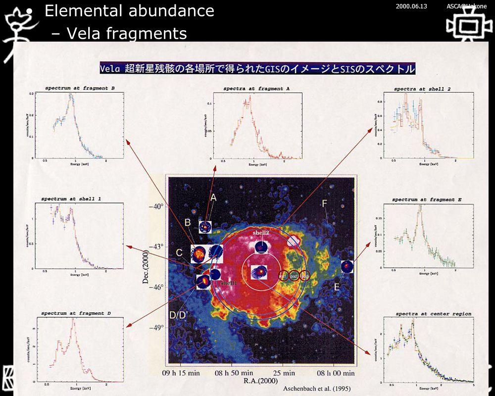 2000.06.13ASCA@Hakone Elemental abundance –Vela fragments
