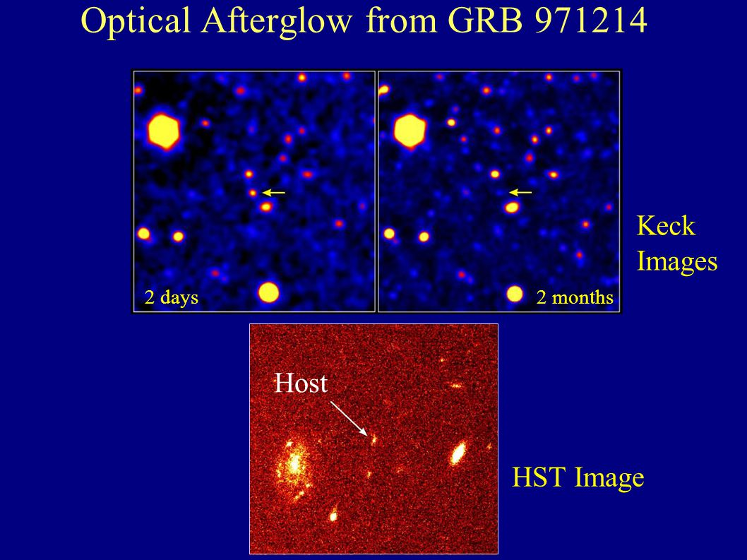 Optical Afterglow from GRB 971214 Host HST Image Keck Images 2 days2 months