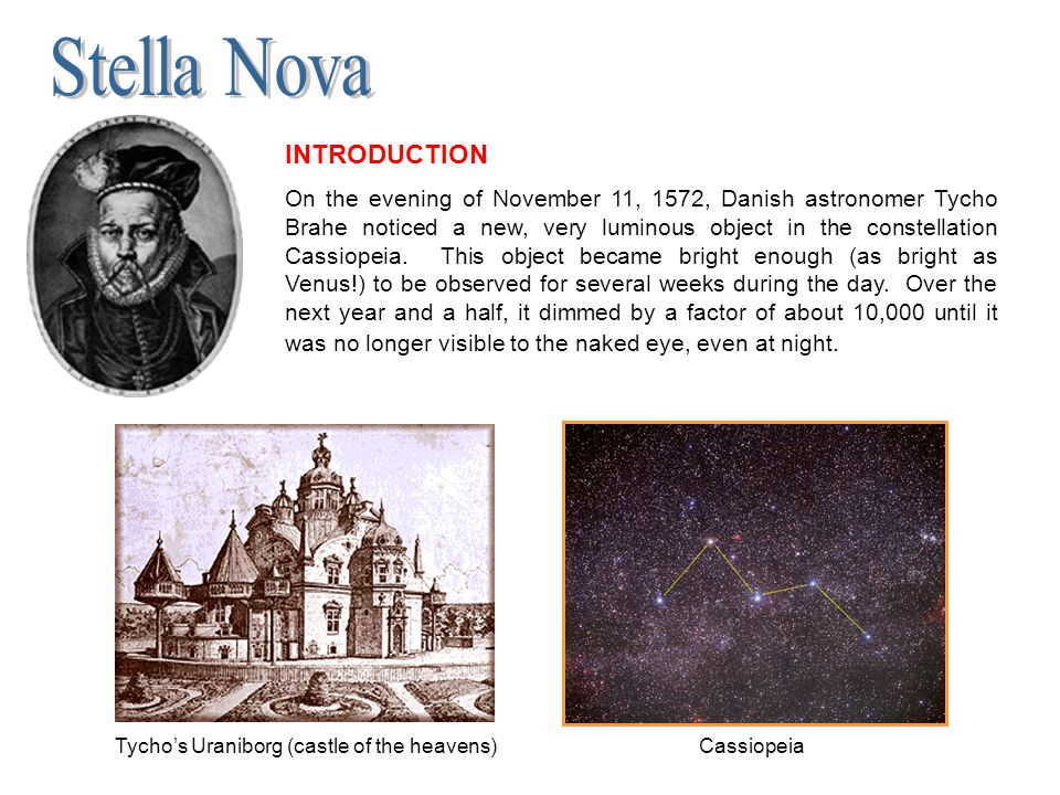 Tycho's Uraniborg (castle of the heavens) Cassiopeia INTRODUCTION On the evening of November 11, 1572, Danish astronomer Tycho Brahe noticed a new, ve
