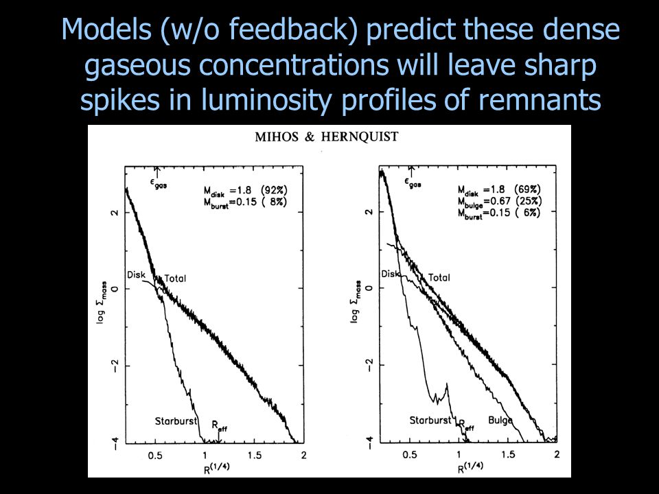 Models (w/o feedback) predict these dense gaseous concentrations will leave sharp spikes in luminosity profiles of remnants