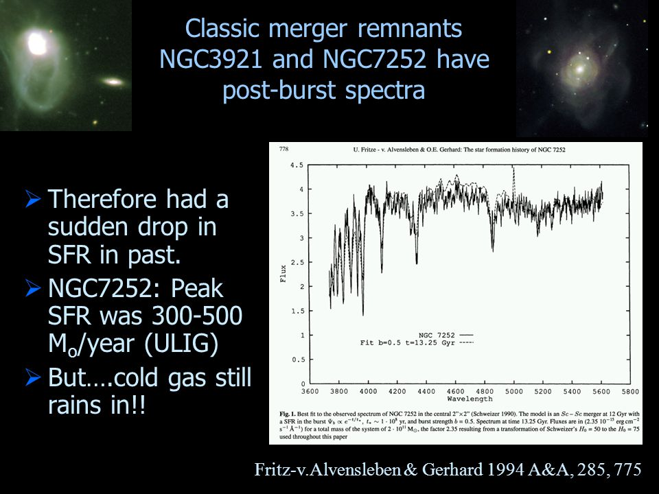 Classic merger remnants NGC3921 and NGC7252 have post-burst spectra  Therefore had a sudden drop in SFR in past.  NGC7252: Peak SFR was 300-500 M o