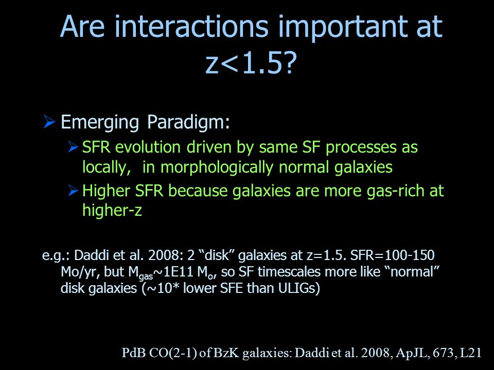 Are interactions important at z<1.5?  Emerging Paradigm:  SFR evolution driven by same SF processes as locally, in morphologically normal galaxies 
