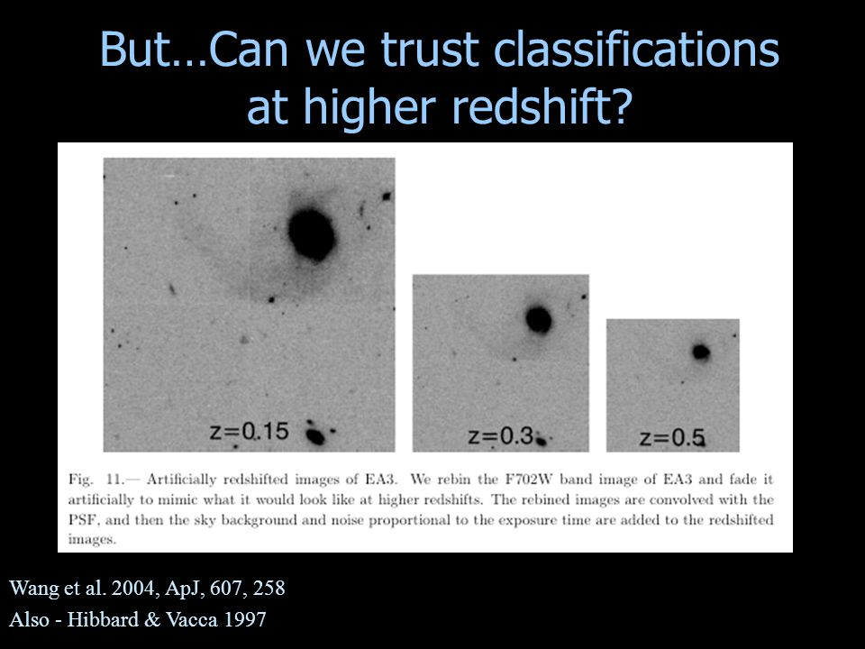 But…Can we trust classifications at higher redshift? Wang et al. 2004, ApJ, 607, 258 Also - Hibbard & Vacca 1997
