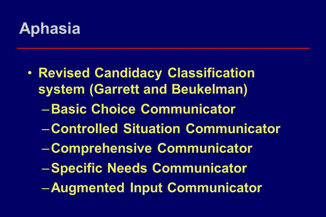 Demands of Communication for Person with Aphasia for basic needs conversation (Garrett, 1996) Self aware Generate an action plan Generate a conceptual representation Be attentive to environment Posses an expressive modality Sufficient working memory Adequate semantic mapping/translation skills Pragmatic skills to determine if message is received accurately Metacommunicative ability to revise, repair