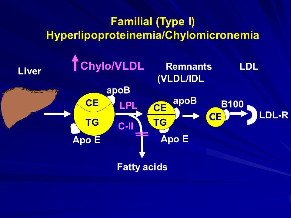 Familial (Type I) Hyperlipoproteinemia/Chylomicronemia Apo E apoB Chylo/VLDL Remnants LDL (VLDL/IDL) Liver CE apoB CE TG LPL C-II Fatty acids CE TG B100 LDL-R CE