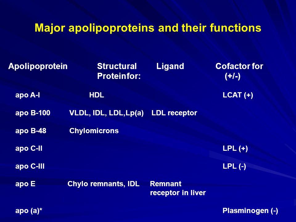 Major apolipoproteins and their functions ApolipoproteinStructural Ligand Cofactor for Proteinfor: (+/-) apo A-I HDLLCAT (+) apo B-100 VLDL, IDL, LDL,Lp(a) LDL receptor apo B-48 Chylomicrons apo C-IILPL (+) apo C-IIILPL (-) apo E Chylo remnants, IDL Remnant receptor in liver apo (a)*Plasminogen (-)