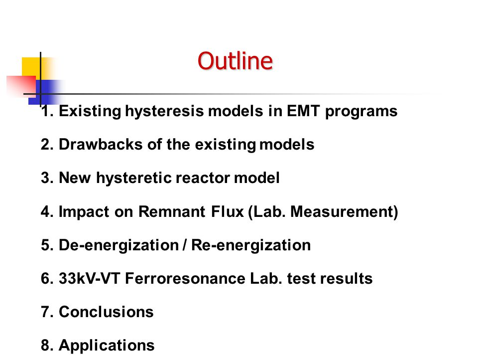 Outline 1. 1.Existing hysteresis models in EMT programs 2. 2.Drawbacks of the existing models 3. 3.New hysteretic reactor model 4. 4.Impact on Remnant